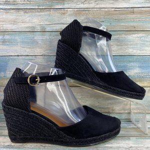 H&M Black Wedge Ankle Strap Espadrille Sandals